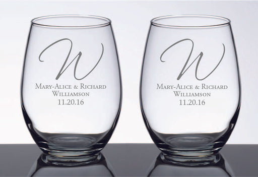Personalised Set of 2 Stem less Wine Glasses