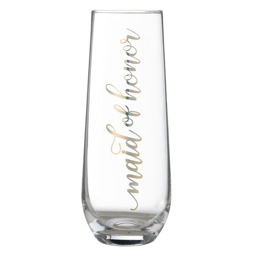 "Lillian Rose Gold ""Maid of Honor"" Stemless Champagne Glass"
