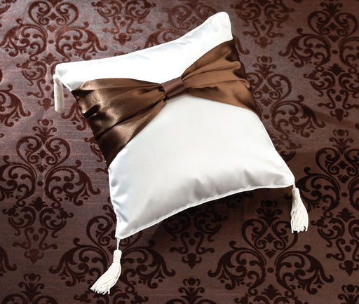 Lillian Rose Brown Sash Ring Pillow