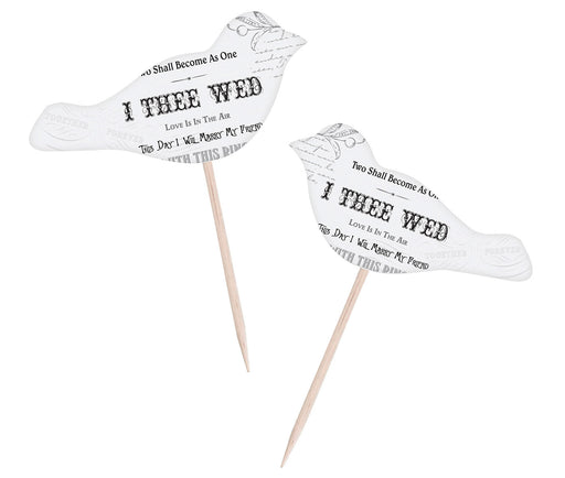Lillian Rose 12 I Thee Wed Love Birds Cupcake Picks