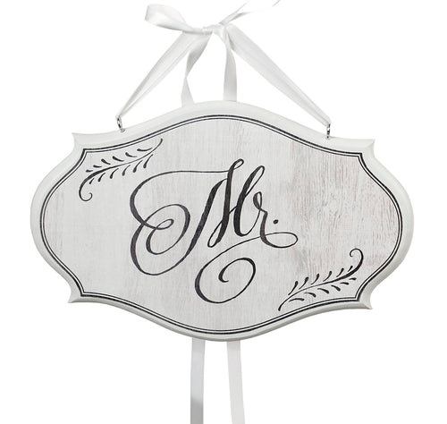 Mr. Small Oval Wooden Sign White