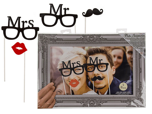 Mr and Mrs Photo Props with Frame