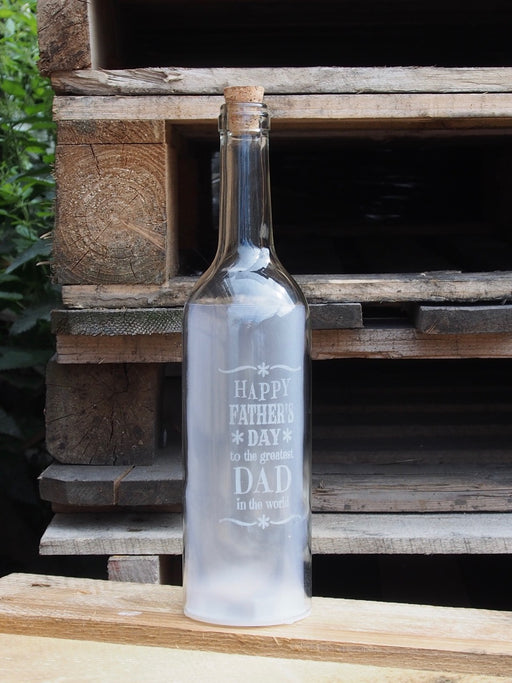 Fathers Day White glass bottle with warm white LED star lights