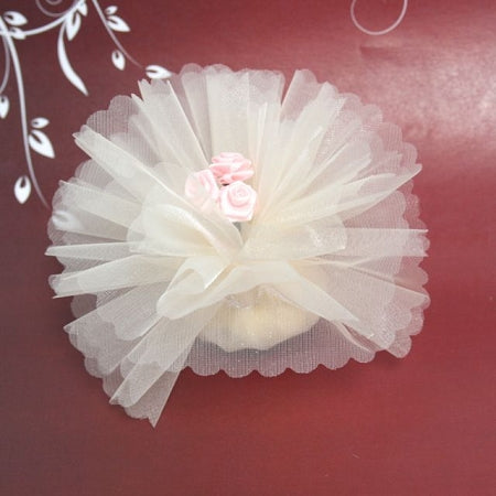 Ivory Crystal Ready Made Favor With 3 Pink Ribbon Roses