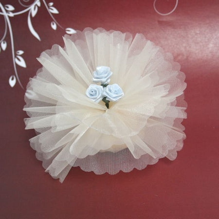 Ivory Crystal Ready Made Favor With 3 Baby Blue Ribbon Roses
