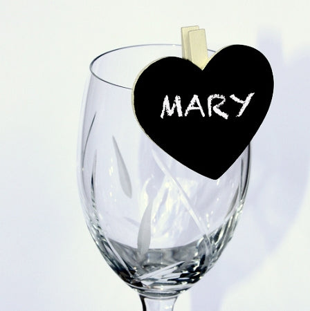 Ivory Clip Heart Shape Chalkboard Place Card
