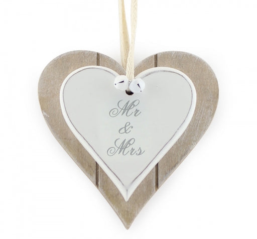 Mr. And Mrs. Double Heart Plaque - Wedding