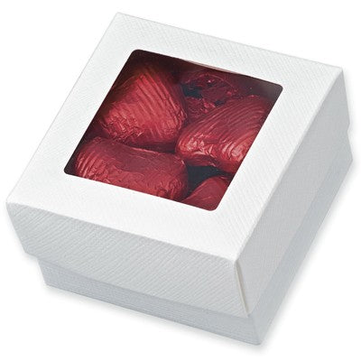 White Silk Square Box With Window Lid 70x70x40mm