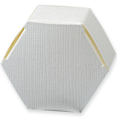 White Silk Hexagonal Box 60x30mm