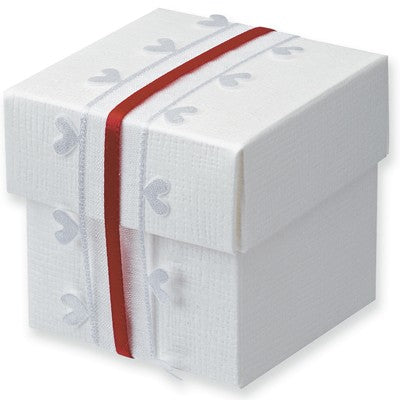 White Silk Square Box With Lid 50x50x50mm