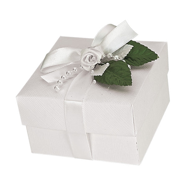 White Silk Square Box With Lid 100x100x60mm