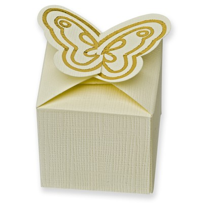 Ivory Gold Butterfly Square Box (50 x 50 x 50mm)