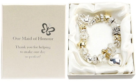 Amore Silver Gold Bead Charm Bracelet Maid of Honour