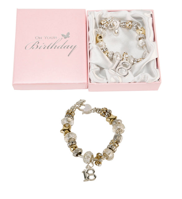 Birthdays By Juliana Silver And Gold Bead Bracelet 18