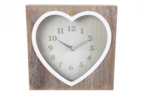 Lime Wash Heart Clock