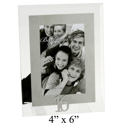 Birthdays By Juliana Glass And Mirror Frame 4x6 16th