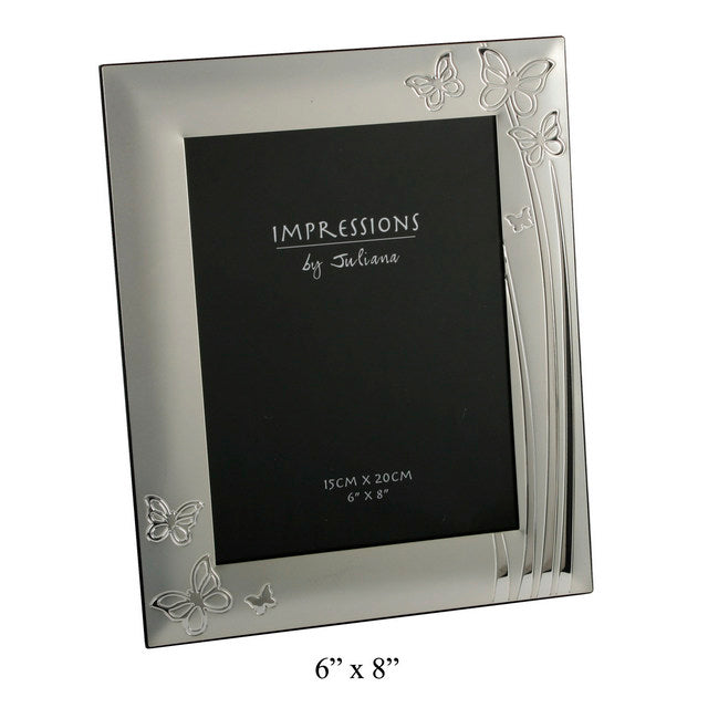 2 Tone Silver Plated Photo Frame Butterfly Design 6x8