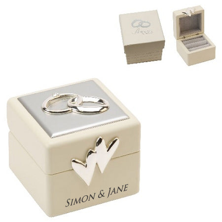 Personalised Amore Wedding Ring Box With Icons And Crystals
