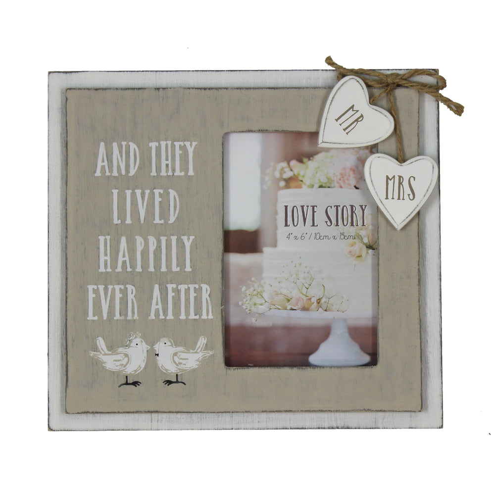 Love Story Wooden Frame Happily Ever After 4x6