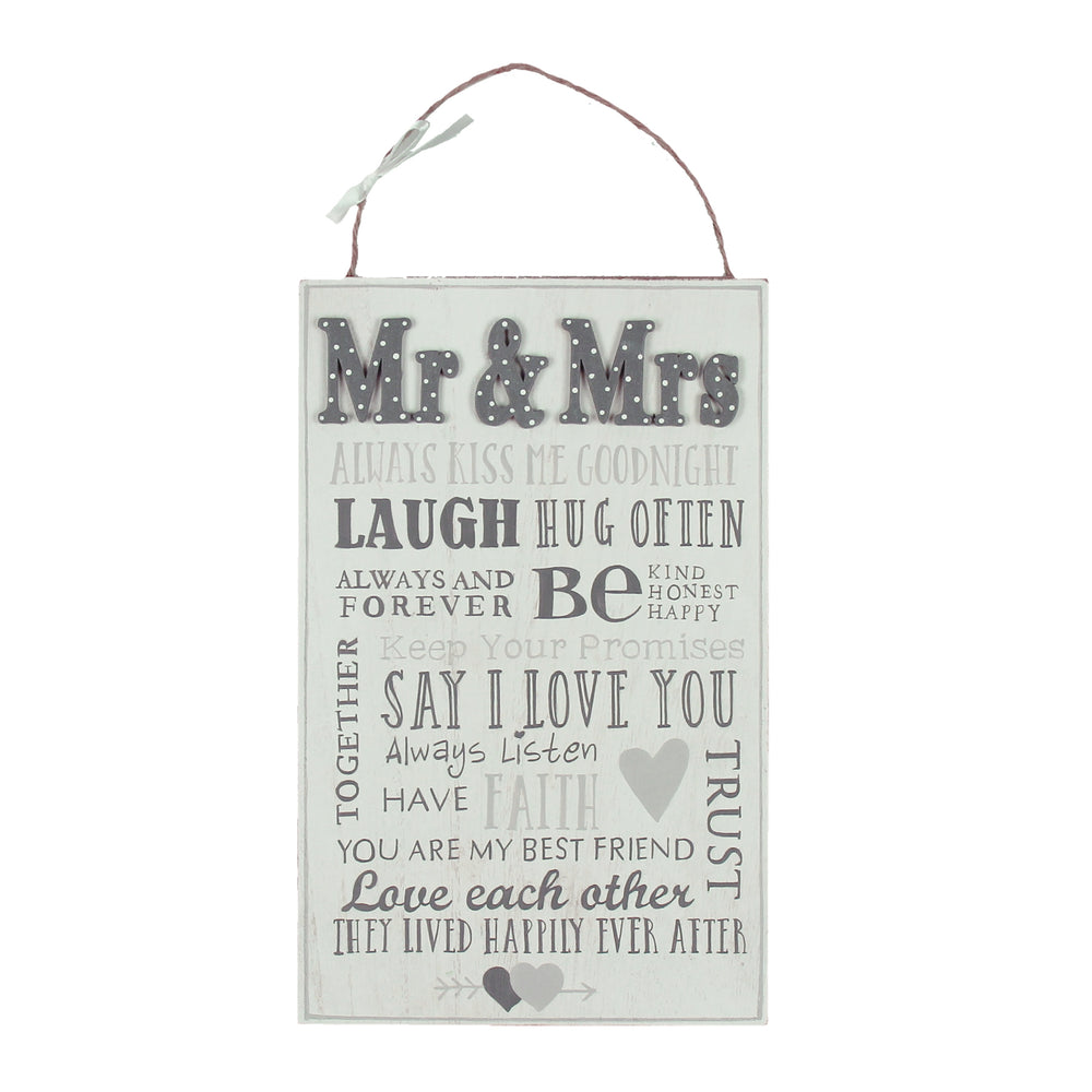 Love Story MDF Plaque Mr. And Mrs. Words For Marriage