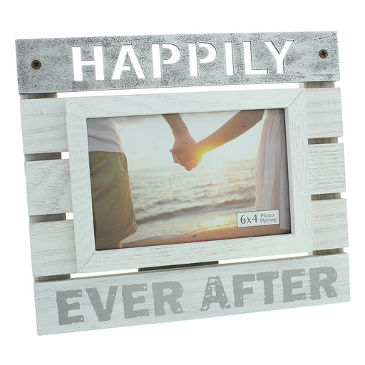 New View Wooden Panel Photo Frame 6x4 Happily Ever After