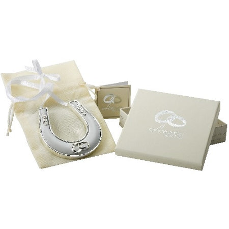 Amore Silver Plated Horse Shoe With Icon, Crystal And Ribbon