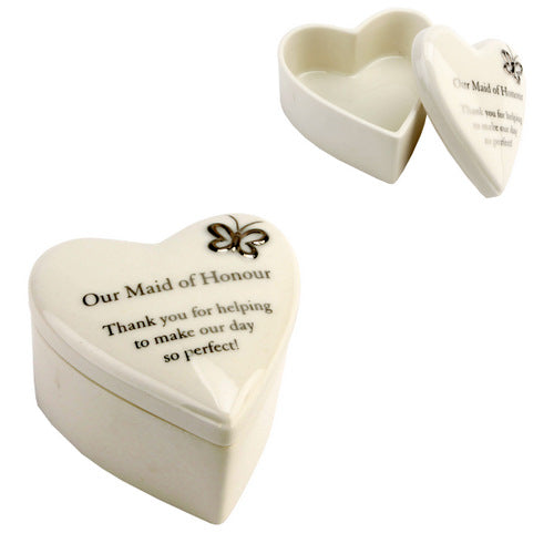 Amore Porcelain Heart Trinket Box Our Maid of Honour