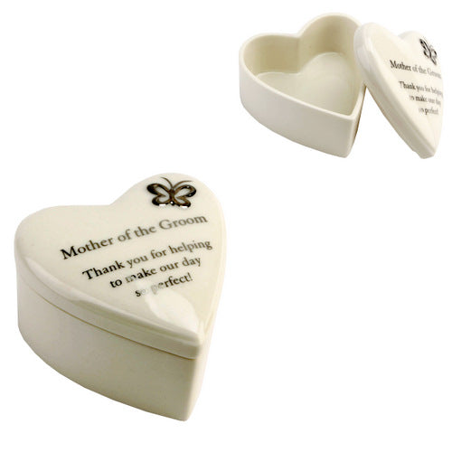 Amore Porcelain Heart Trinket Box Mother of The Groom