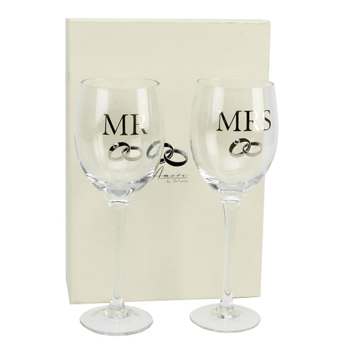Amore Mr. And Mrs. Wine Glass Gift Set