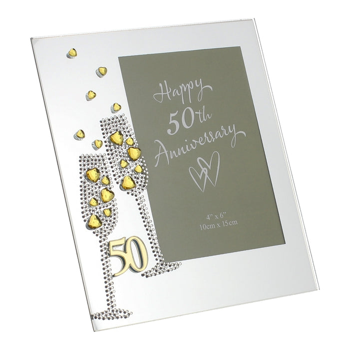 Juliana Anniversary Mirror Frame 4x6 Flute Crystal 50th