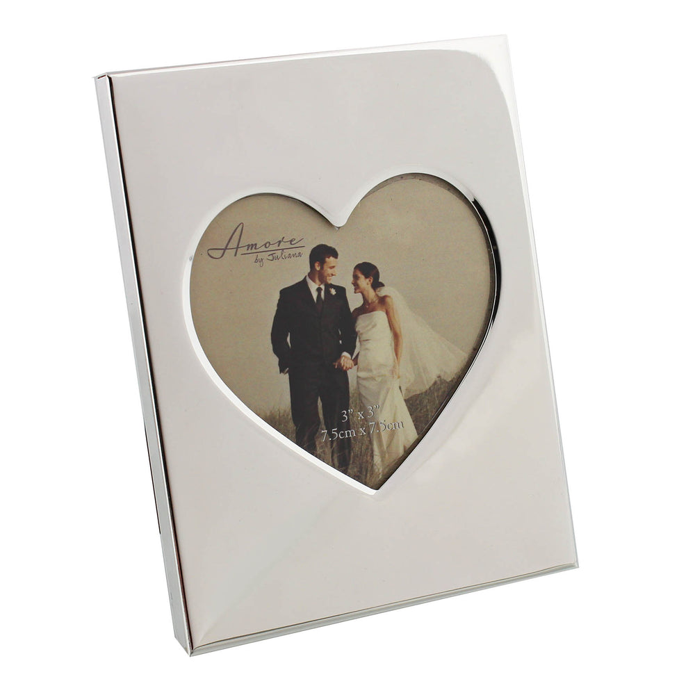 Amore Shiny Silver Plated Photo Frame With Heart insert 3x3