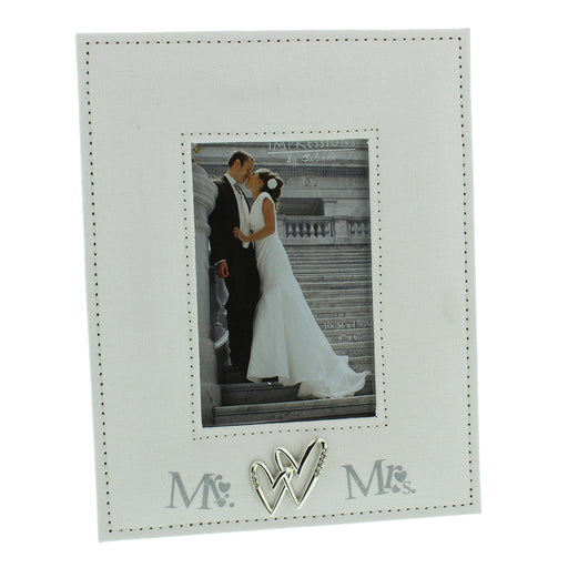 Wedding Mr. And Mrs. Linen Photo Frame 4x6in