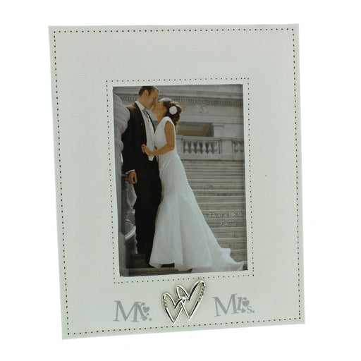 Wedding  Mr. And Mrs. Linen Photo Frame 5x7in