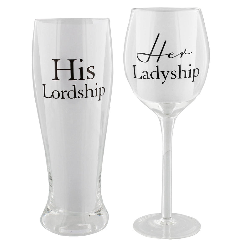 Amore Wine And Pint Glass Set His Lordship, Her Ladyship