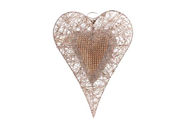 Christmas Gold Sequin Heart With LED Lights