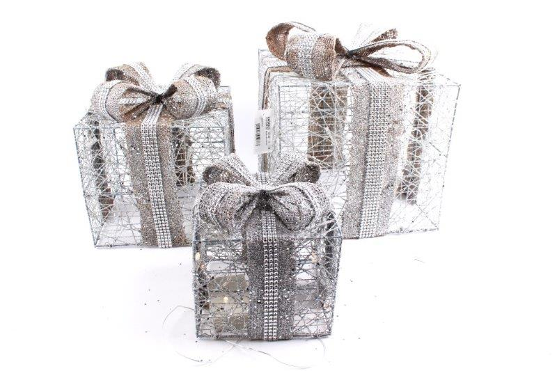 Set of 3 Christmas Silver Gift Boxes with LED Lights