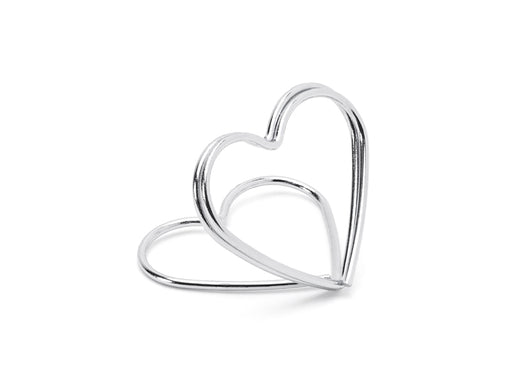 Place card holders Hearts, silver, 2.5 cm 10pc