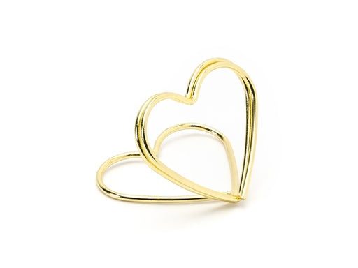 Place card holders Hearts, gold, 2.5 cm 10pc