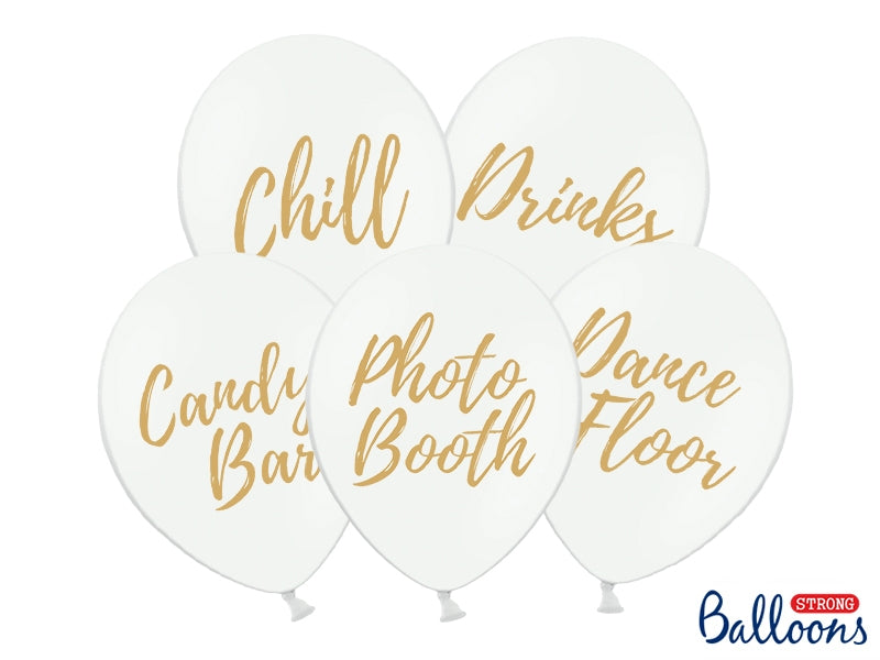 Balloons 30cm, Candy Bar, Chill, Dance Floor, Drinks, Photo Booth, Pastel Pure White 5pc
