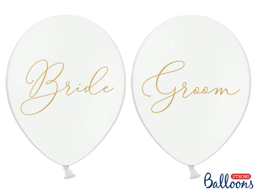Balloons 30cm, Bride, Groom, Pastel Pure White 6pc