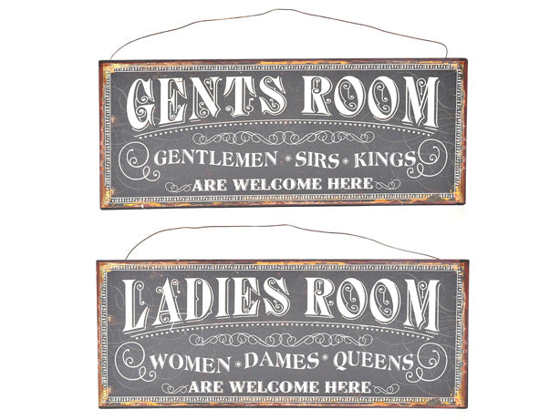 Set of 2 Metal Plaque Rooms Assorted Designs