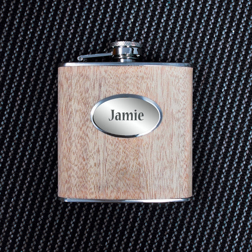 Personalised Wooden Hip Flask 6oz in Gift Box