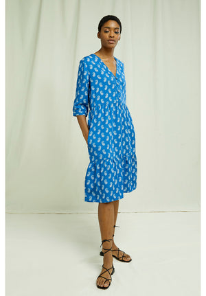 V&A Neha Print V-neck Dress