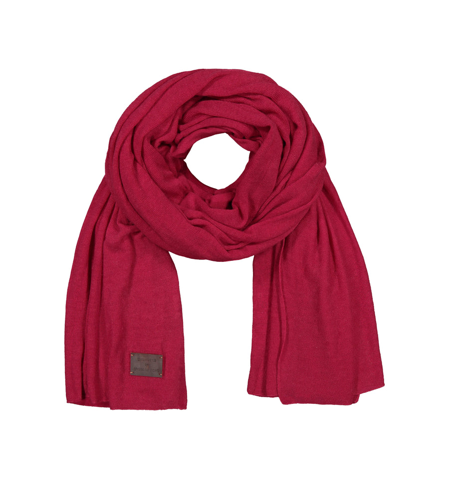 Large Knitted Cashmere Scarf - Rasberry