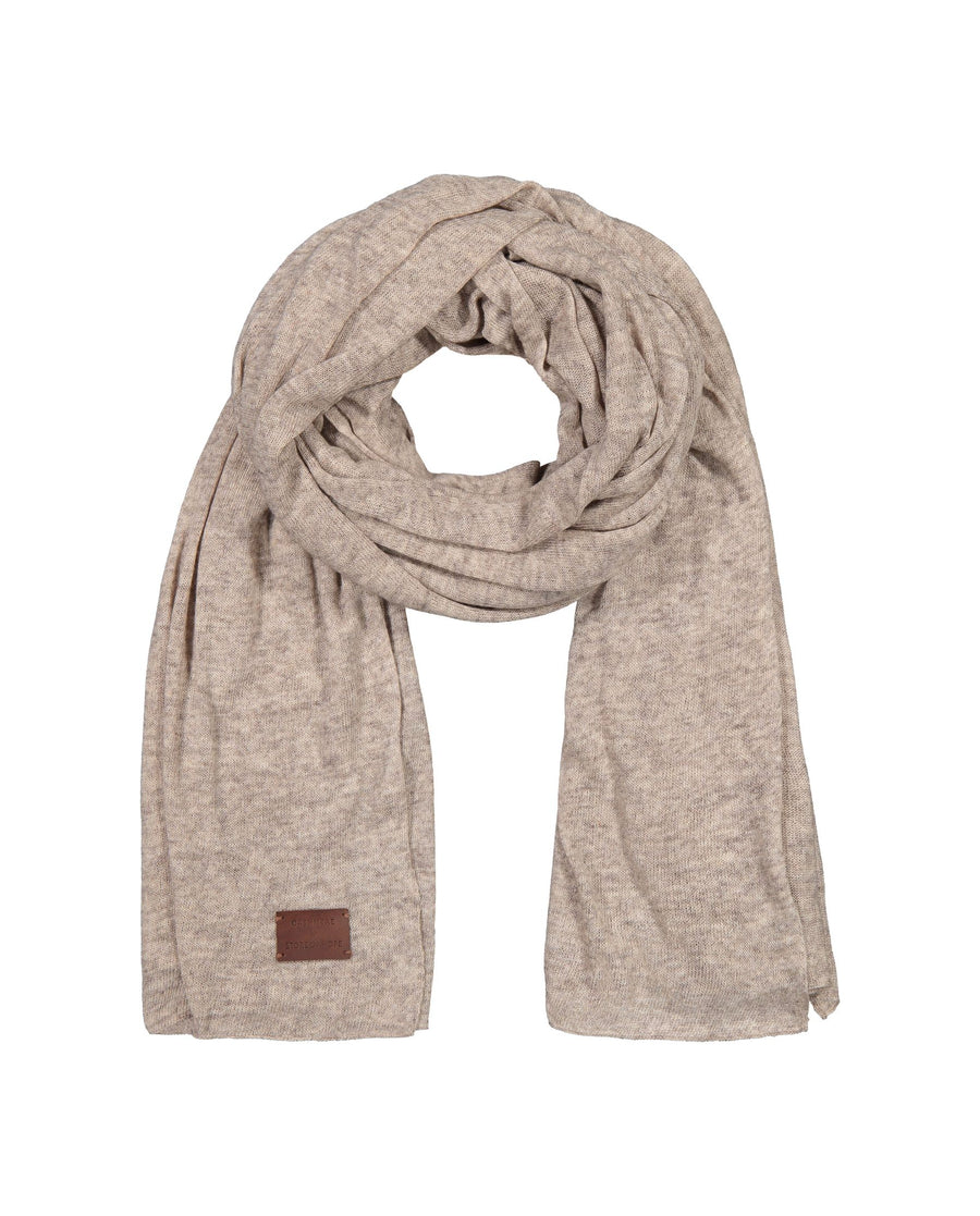 Large Knitted Cashmere Scarf - Sand