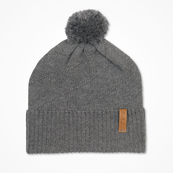 Merino Pom Pom Hat -  Pebble Grey