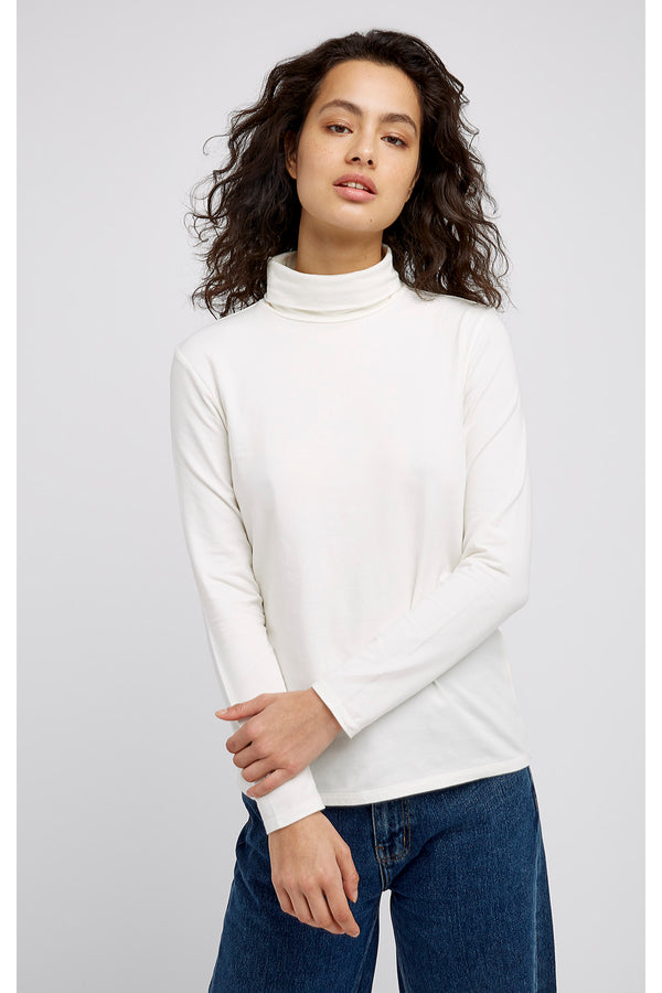 Laila Roll Neck Top in White