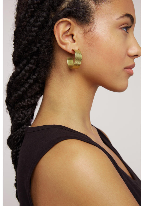 Wide Hoop Earrings Brass