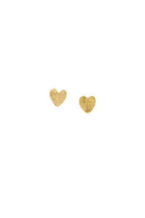 Heart Stud Earrings -Brass
