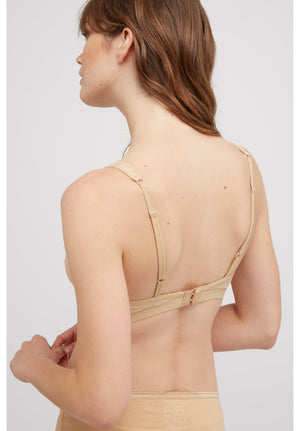 Lace Trim Triangle Bra / Beige